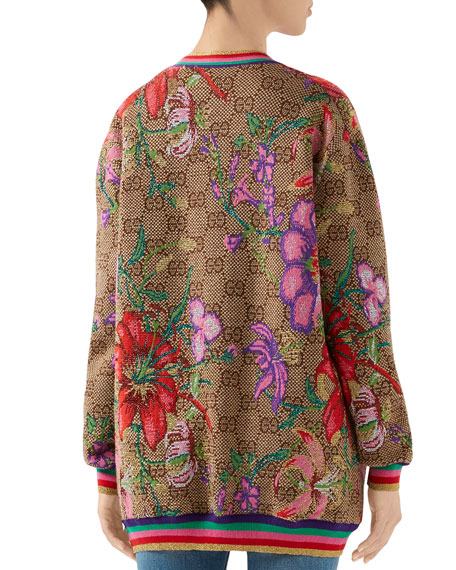 Wool CC Big Flora Holiday Cardigan