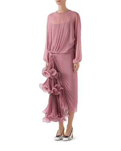 Silk Georgette Plisse Draped Skirt