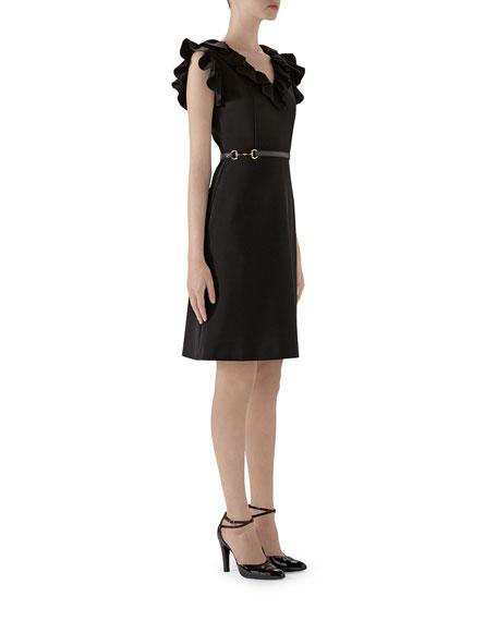 Ruffle-Trim V-Neck Jersey Dress With Horsebit Waist