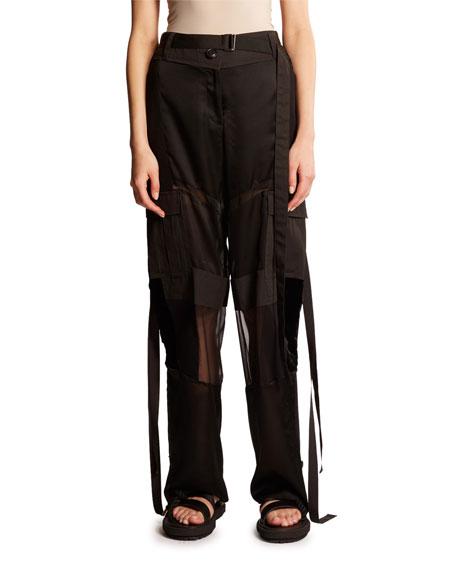 Chiffon & Twill Combo Cargo Pants