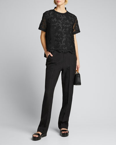 Embroidered Lace-Front Cotton Top