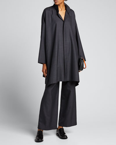 Wide A-Line Wool-Silk Shirt