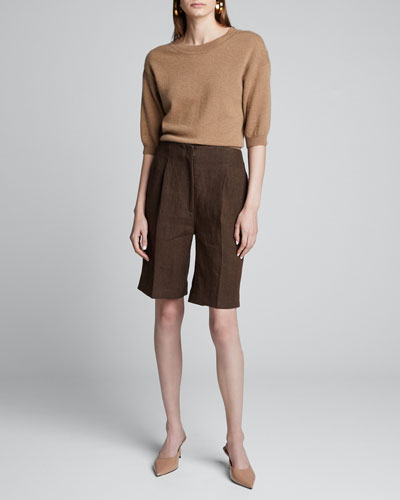 1/2-Sleeve Cashmere Sweater