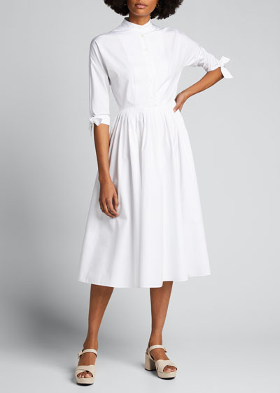 3/4-Sleeve Poplin Shirtdress