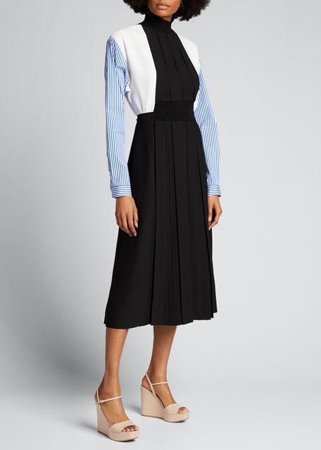 Mock-Neck Poplin-Sleeve Dress