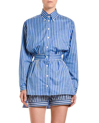 Fantasia Button-Front Peplum Shirt