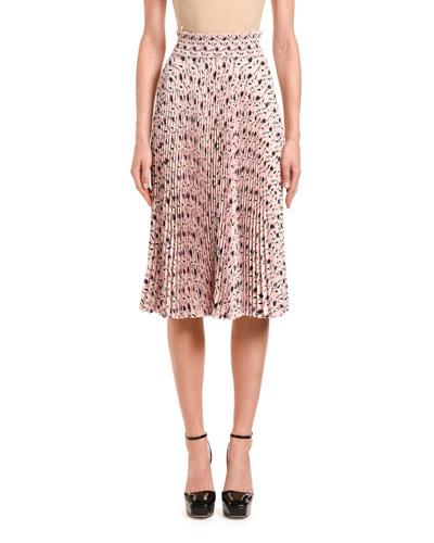 Leaf-Print Pleated Midi Skirt