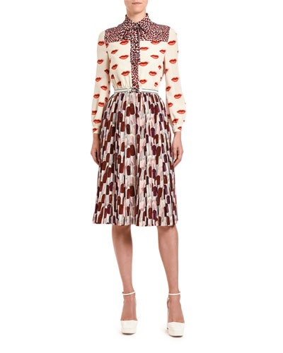 Lipstick & Animal-Print Crepe Bow-Neck Dress
