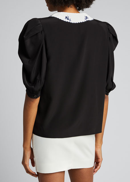 Puff-Sleeve Blouse with White Oversized Collar