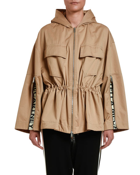 Drawstring-Waist Cropped Trench Jacket