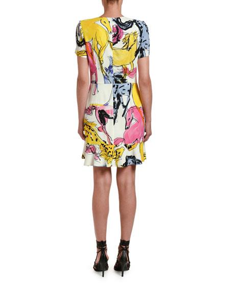 Watercolor Horse-Print Jersey Dress