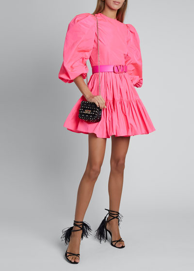 Tiered Skirt Taffeta Dress