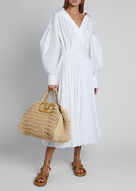 Puff-Sleeve Wrap Dress