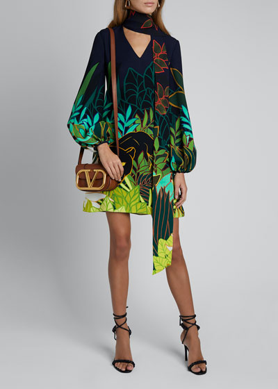 Panther Tie-Neck Puff-Sleeve Silk Dress