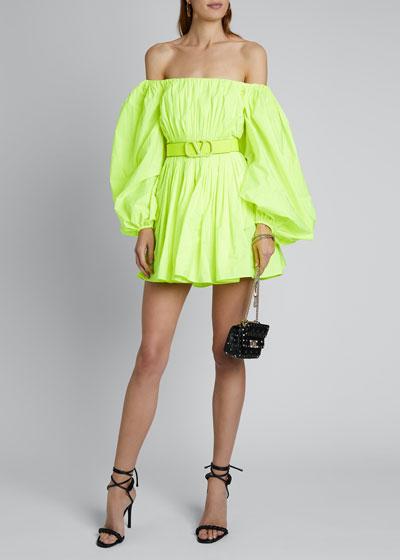 Puff-Sleeve Shoulder Dress