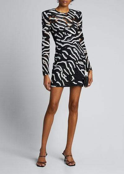 Zebra Beaded Cocktail Dress