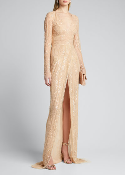 Embroidered V-Neck Long-Sleeve Gown