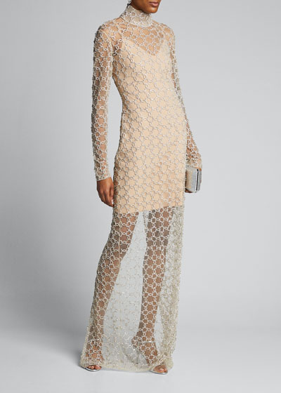 Patterned Embroidered Stand-Collar Long-Sleeve Gown
