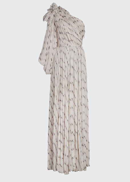 Pleated Draped One-Shoulder Gown