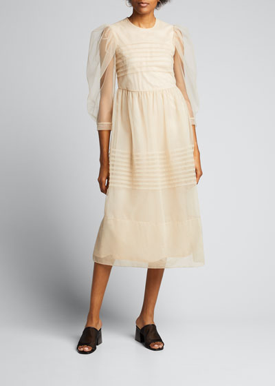 Pleated Tulle Puff-Sleeve Dress