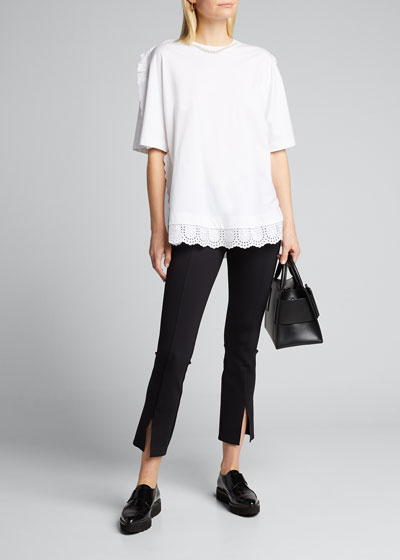 Cotton Jersey Short-Sleeve Beaded-Neck Frill-Hem Top