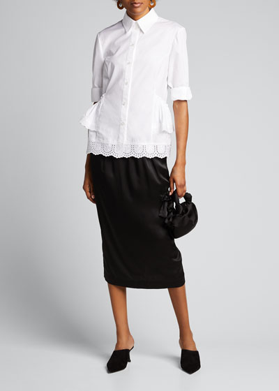 Cotton Poplin 3/4-Sleeve Frill-Hem Button-Down Top