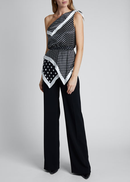 Polka-Dot Silk One-Shoulder Asymmetric Top