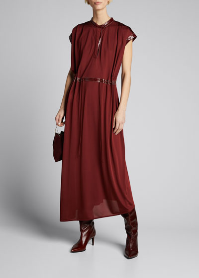 Cap-Sleeve Jersey Midi Dress