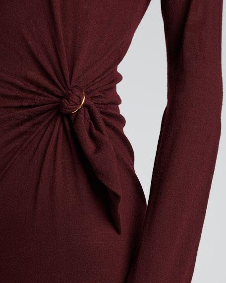 Wool Long-Sleeve Crew Side-0Gathered Dress