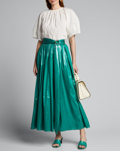 Glossy Coated Jersey Skirt