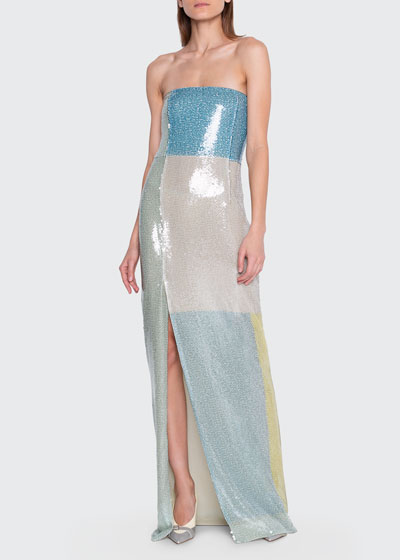 Sequin-Colorblocked Strapless Gown