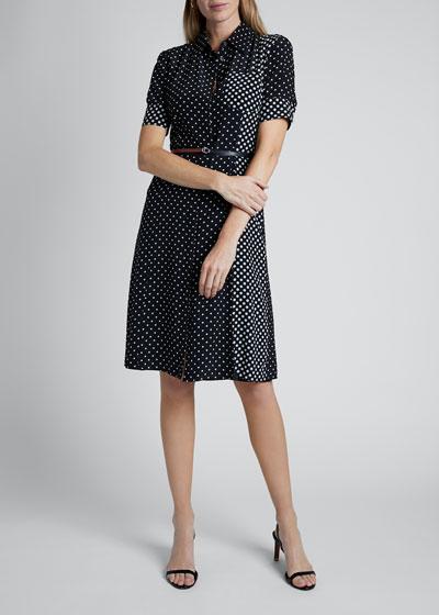 Polka-Dotted Silk Short-Sleeve Shirtdress