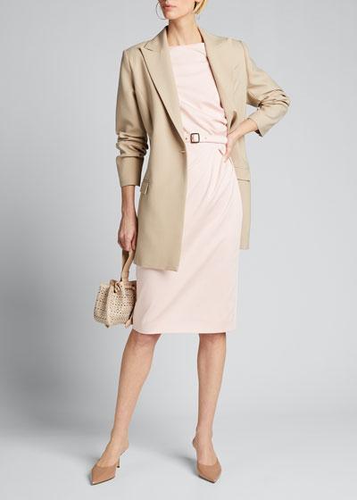Neris Cap-Sleeve Belted Sheath Dress
