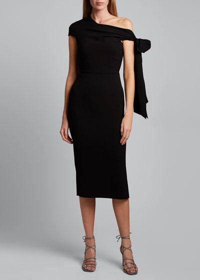 Howe Asymmetric-Shoulder Midi Dress