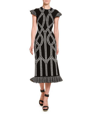 Chain Print Midi Skirt