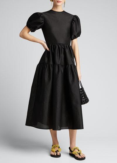 Taffeta Bowed-Back Puff-Sleeve Gown