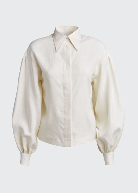 Bettina Poet-Sleeve Linen Shirt