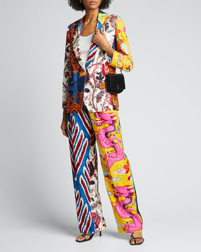 Prince of Chintz Pleated Relaxed-Leg Pants