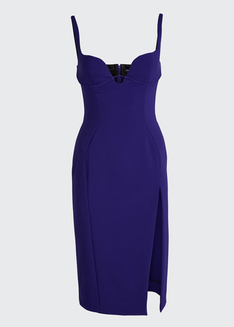 Crepe Sweetheart Front-Slit Sheath Dress