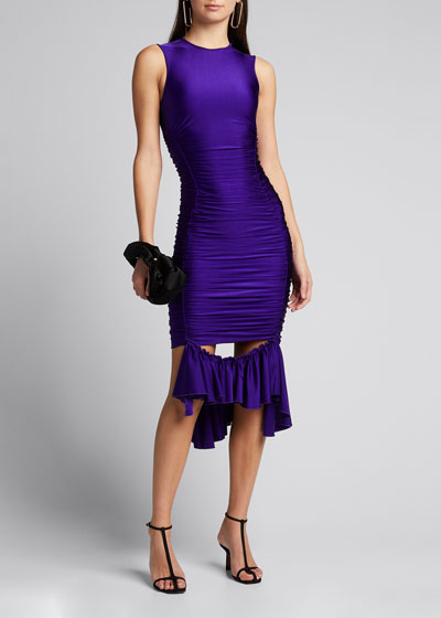 Ruffle-Hem Satin Bodycon Dress
