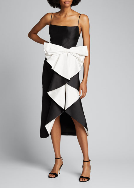 Image 1 of 1: Draped Silk Midi Cocktail Dress with Cascading Bow