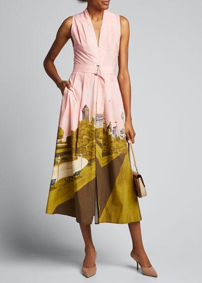 New York City Printed Poplin Belted V-Neck Dress