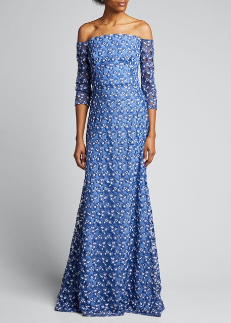 Image 1 of 1: Off-the-Shoulder Floral Embroidered Tulle Gown