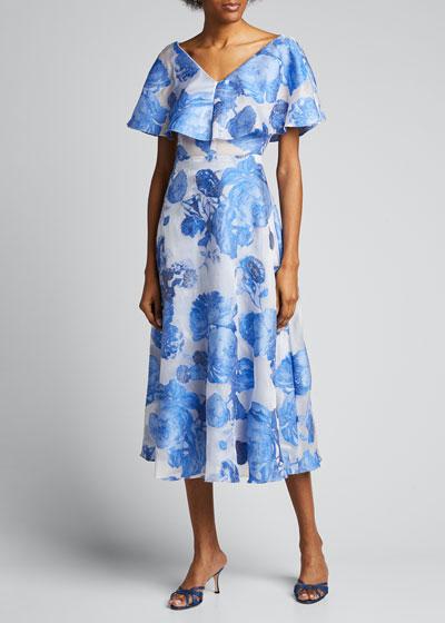 Oversized Rose Fil Coupe Open-Neck Dress
