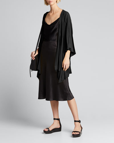 Parasol Pleated Tie-Front Cardigan