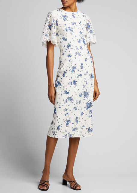 Floral Printed Corded Lace Flutter-Sleeve Sheath Dress