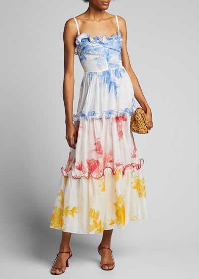 Rose Drawn Voile Ruffle-Trim Maxi Dress