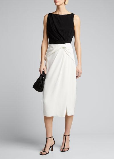 Crepe-Back Satin Crinkled Dress