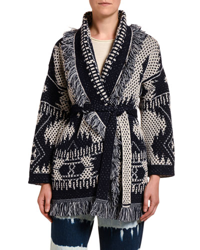 Icon Cashmere-Wool Open Weave Two-Tone Cardigan