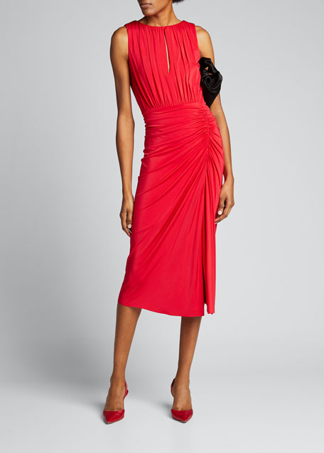 Image 1 of 1: Ruched-Jersey Sleeveless Day Dress